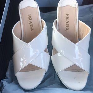 Prada size 5 / 35 white wedges worn 5x